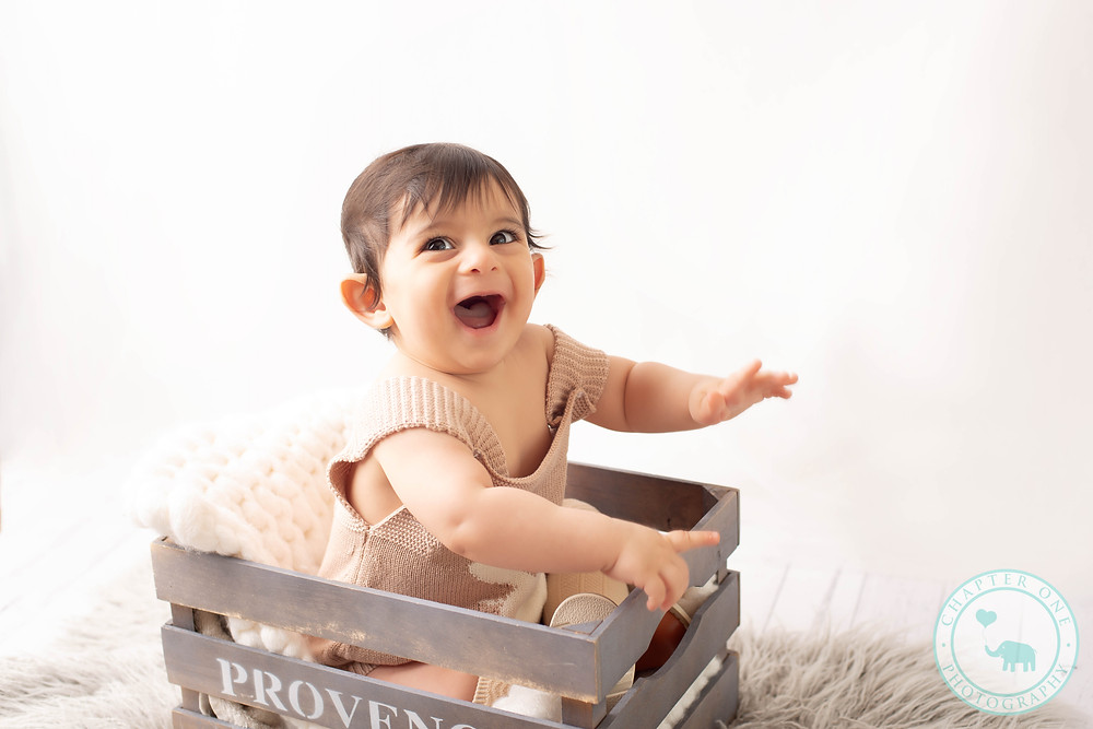 Baby Photography 9 months in crate