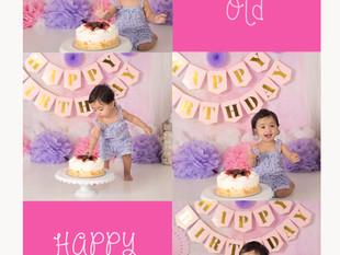 Krisha / One Year Old, pink and purple theme