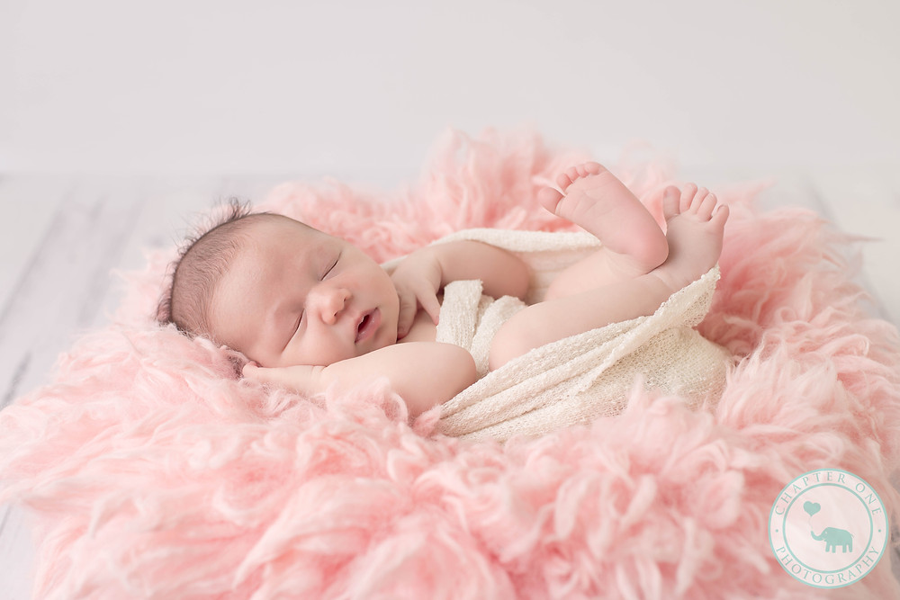 10 days old baby girl in pink
