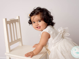 Sahana / One year old, Pink Gold and White