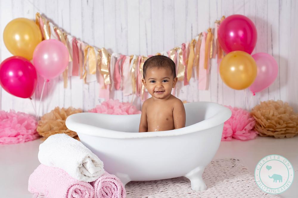 Bath time! Cake smash photography Sydney