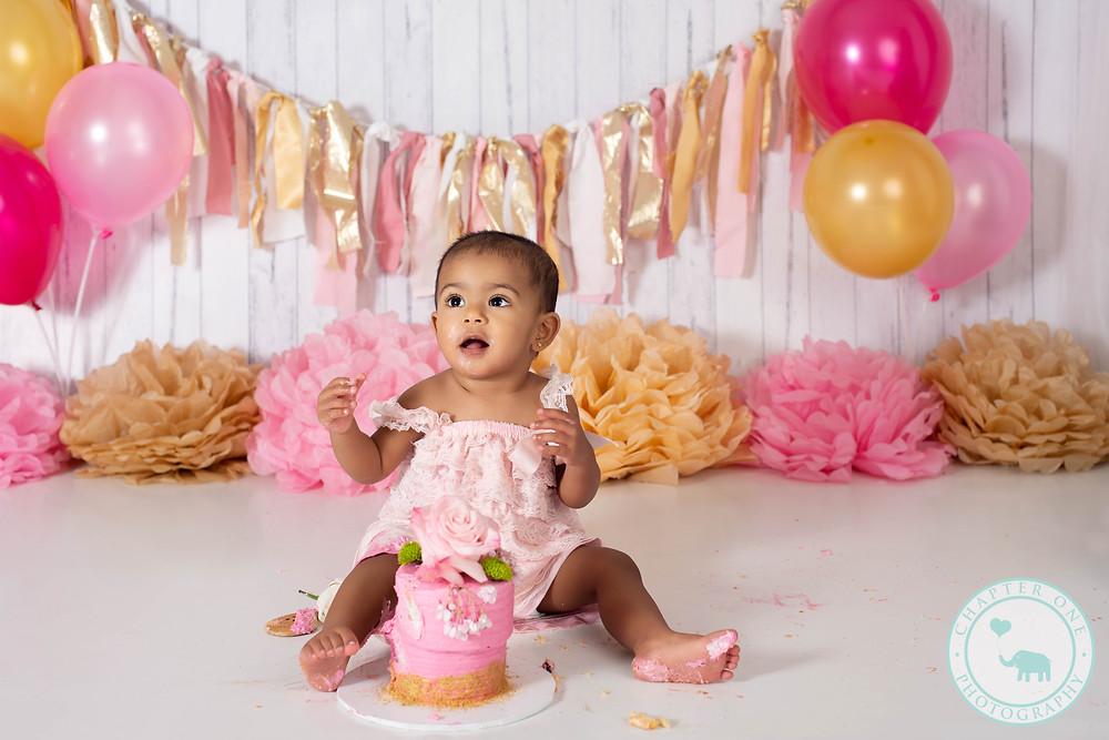 baby girl cake smash photography sydney