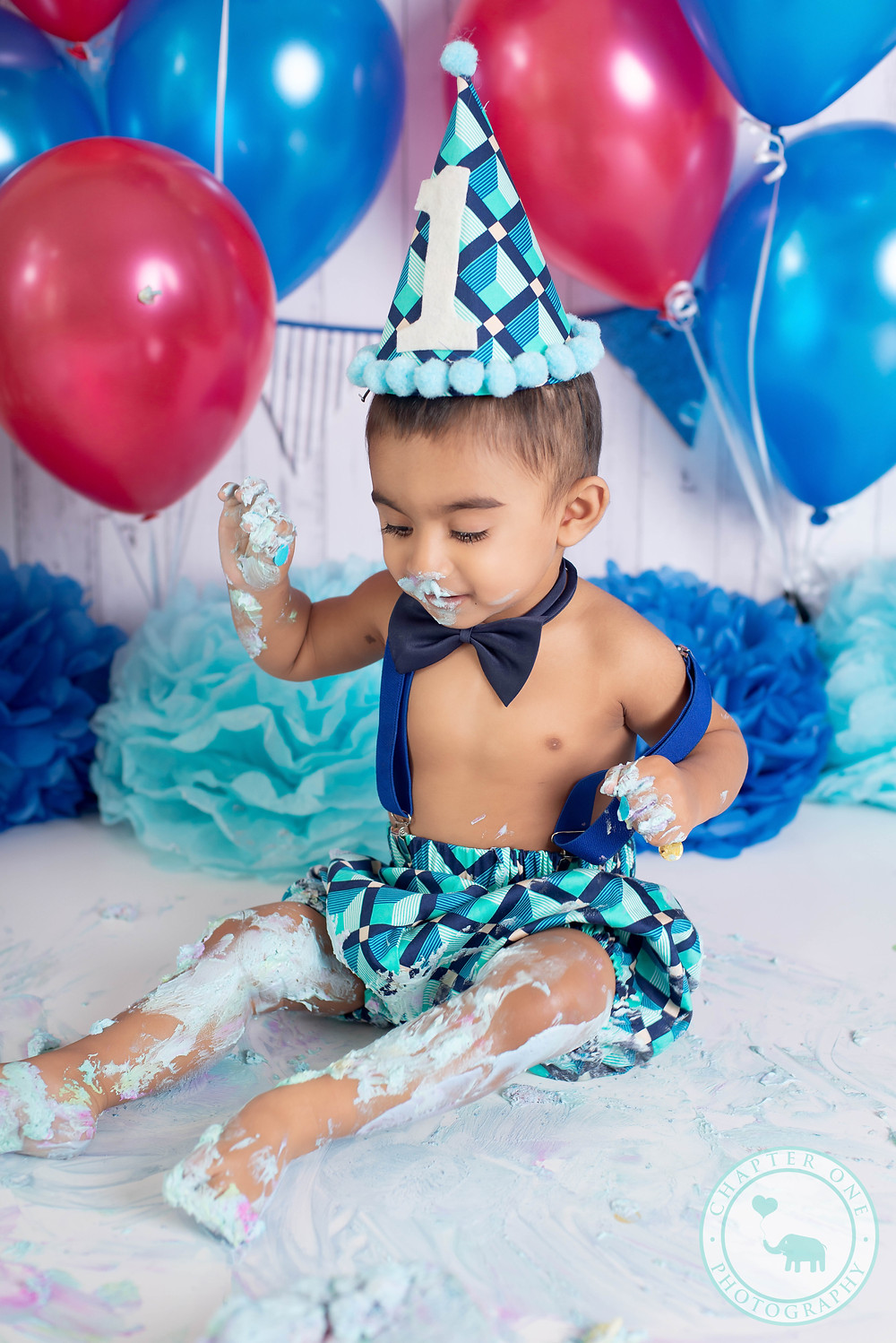 Messy Cake Smash photography for baby boy