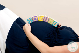 Maternity Photography with Name Blocks