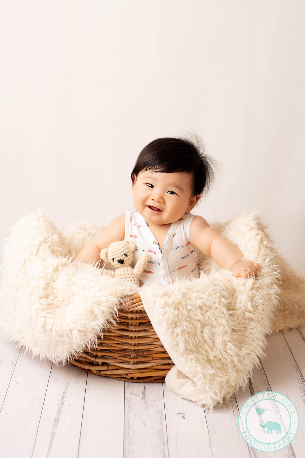 6 month old baby basket photos