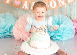 Aqua & Pink Girl Cake Smash
