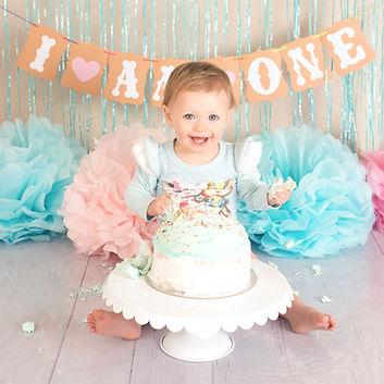 One year old girl cake smash