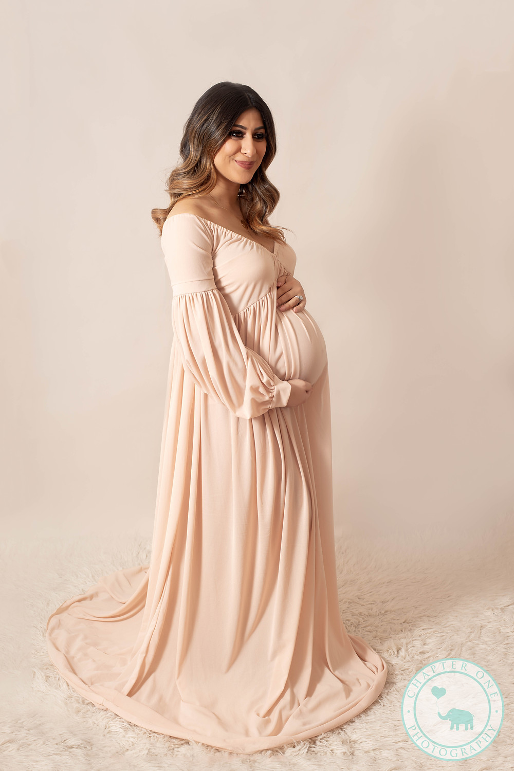 36 weeks pregnant maternity studio shoot in champagne dress