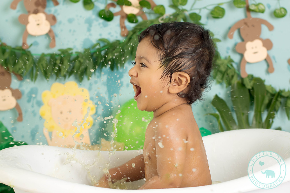 Jungle Cake Smash Photography Bubble Bath