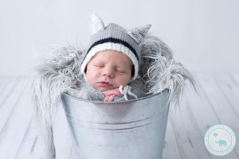 newborn boy in wolf hat