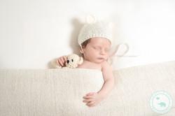 newborn with teddy