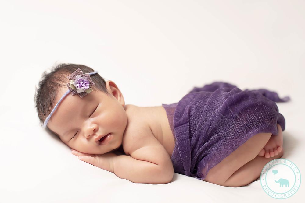 Newborn Photography North Sydney girl in purple