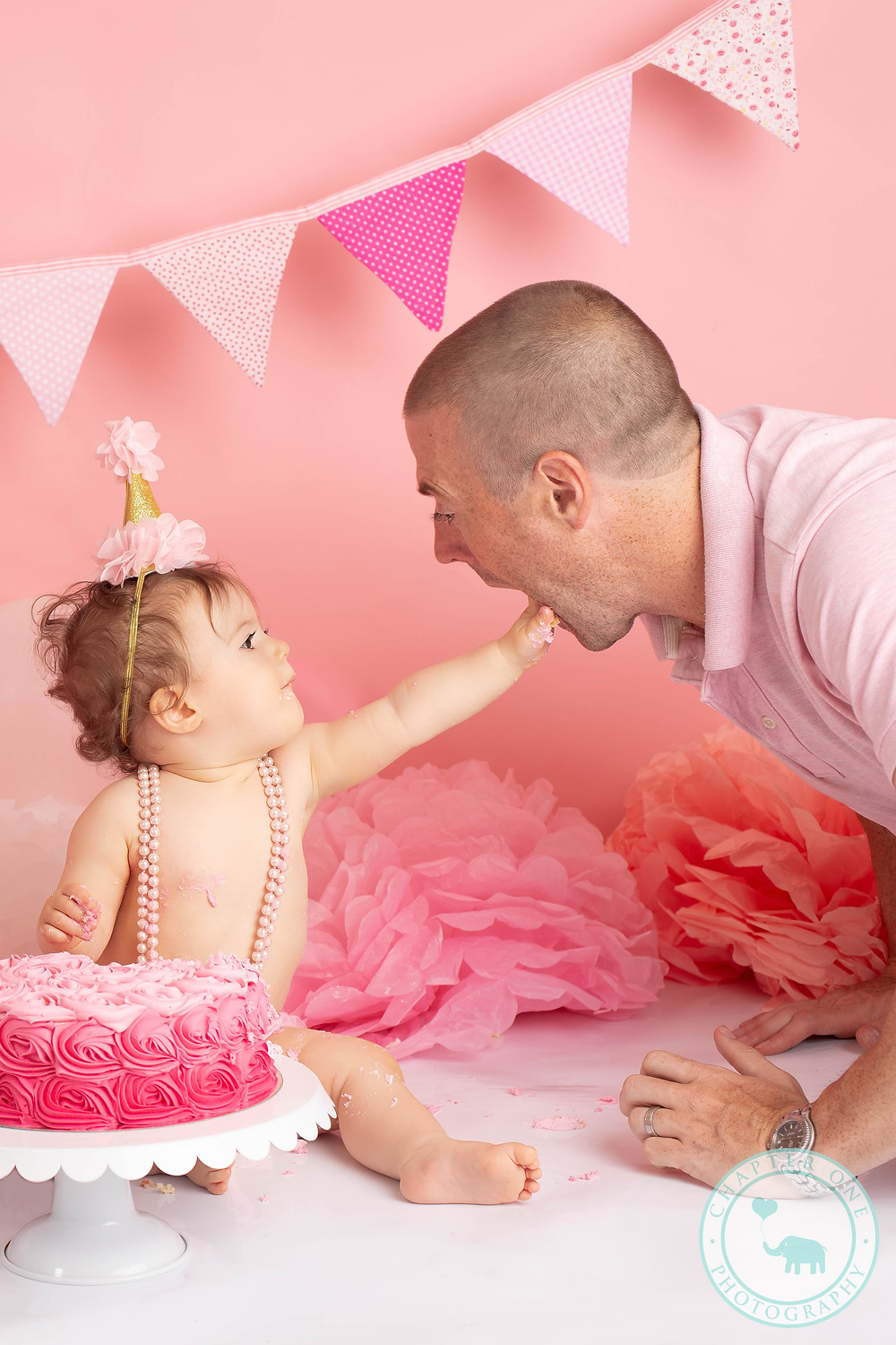 Girl Cake Smash with Dad