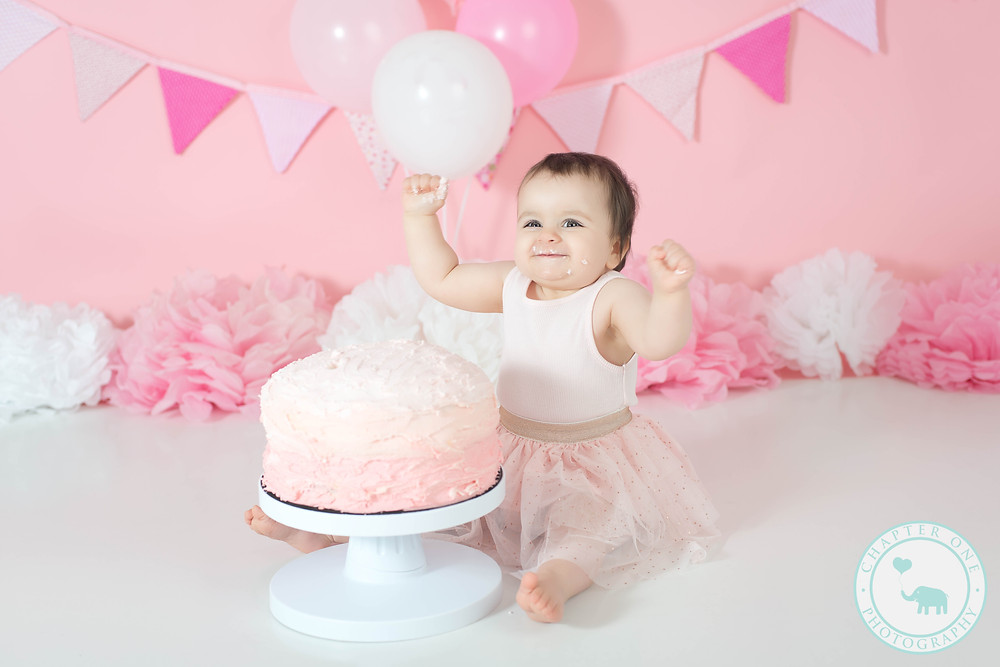 Baby Girl One Year Cake Smash Photo