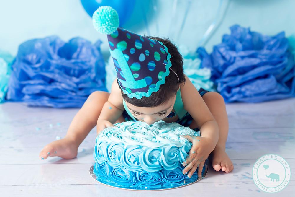 Cake Smash Photography Sydney Boy eating cake