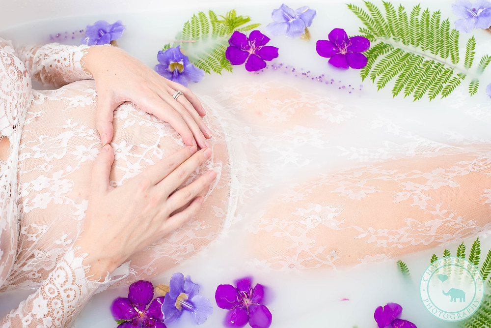 Milk Bath Photography Sydney, purple flowers
