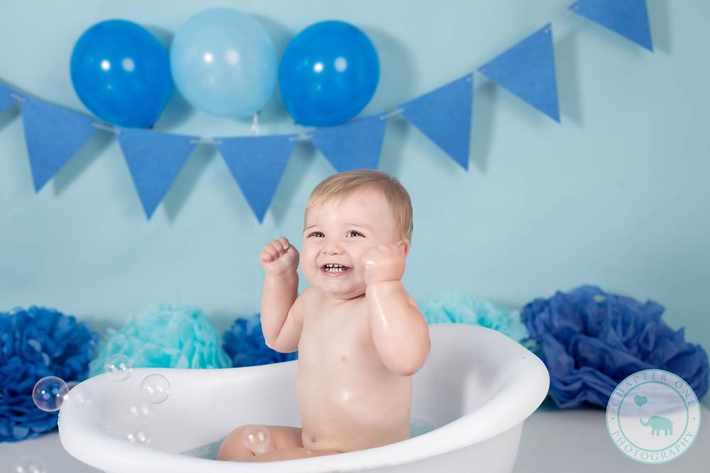 Baby, boy, bath, bubbles, birthday