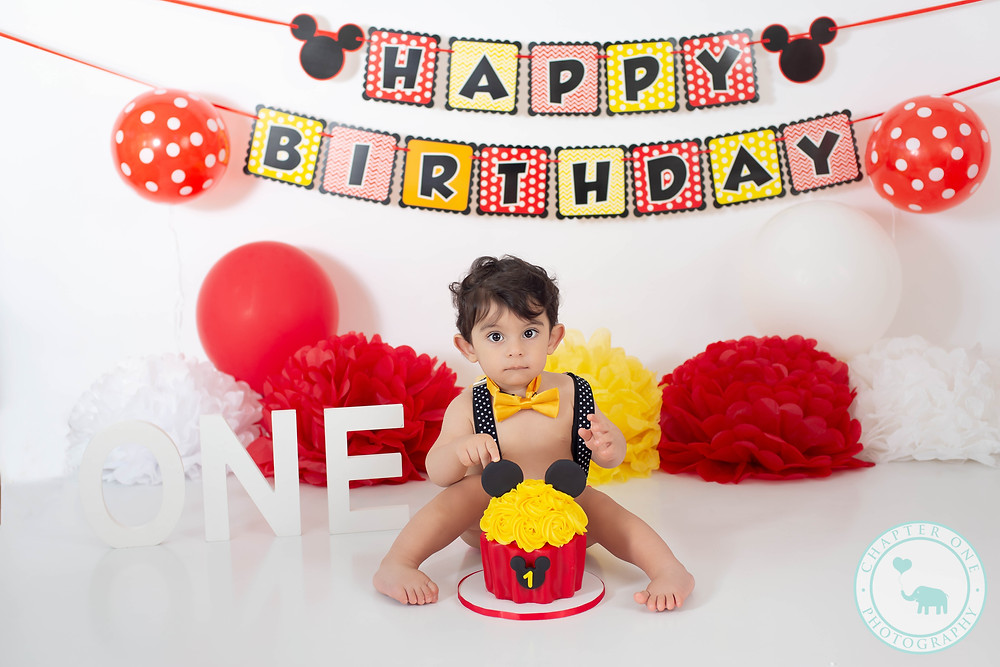 Baby Boy Mickey Mouse Cake Smash Photography