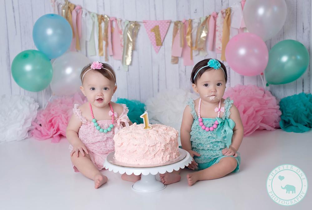 One year old twins Cake smash