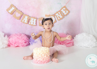 Nadia / 1 year old, Pink Pastels Cake Smash