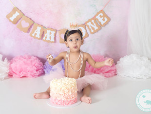 Nadia / 1 year old, Pink Pastels Cake Smash