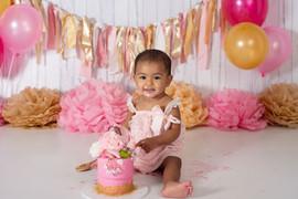 baby pink and gold  cake smash