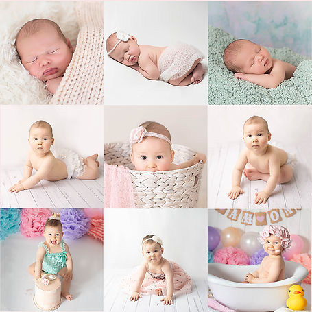 Bay's milestone images newborn, 6 months and one year.jpg