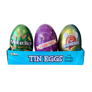 853 Assorted Ex-Large Tin Eggs with Mike and Ike, Airheads and Smarties