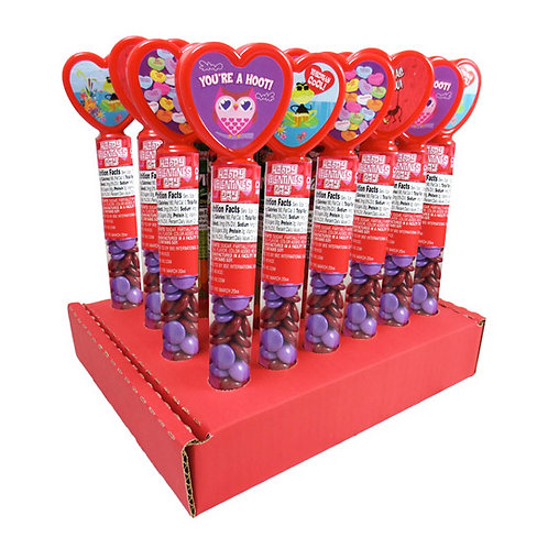 HEART TUBES W/ CHOCOLATE LENTILS - 24 CT.