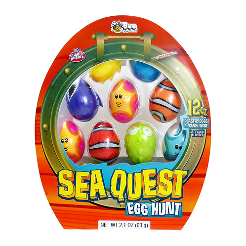 SEA QUEST EASTER EGGS W/ SMARTIES & SUPER BUBBLE - 12 COUNT