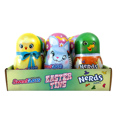 EASTER-TINS DUCK, BUNNY, CHICK W/SWEETARTS & NERDS - 12 CT.