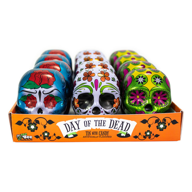 6721 Day of the Dead Tins 12ct. Display