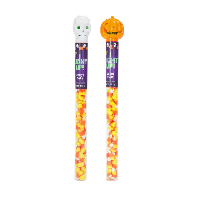 671712 Halloween Tubes with Candy Corn and Light-Up Skull / Pumpkin Toppers