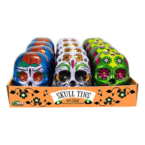 Day of the Dead Tin Skulls