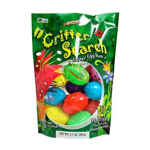 CRITTER SEARCH EGGS WITH SMARTIES BAG - 12PCS