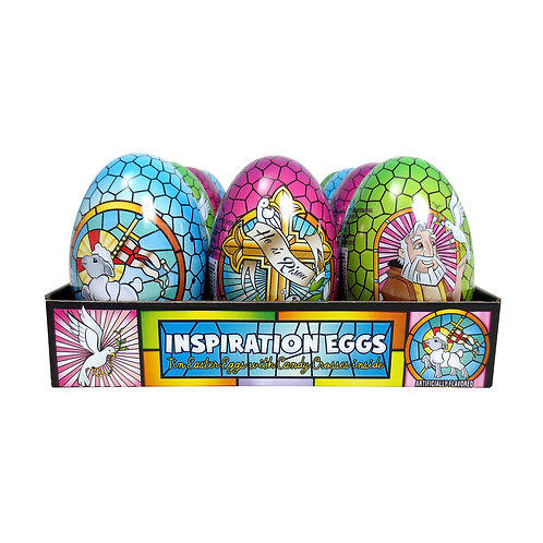 EX-LARGE INSPIRATION TIN EGGS WITH CANDY - 12 CT.