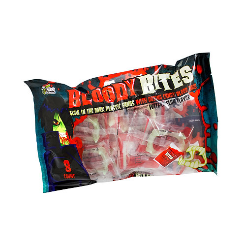 BLOODY BITES FANGS W/ LIQUID CANDY 8 CT.