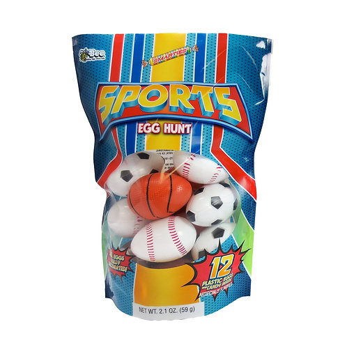 SPORTS BALL EASTER EGGS W/ SMARTIES - 12 COUNT