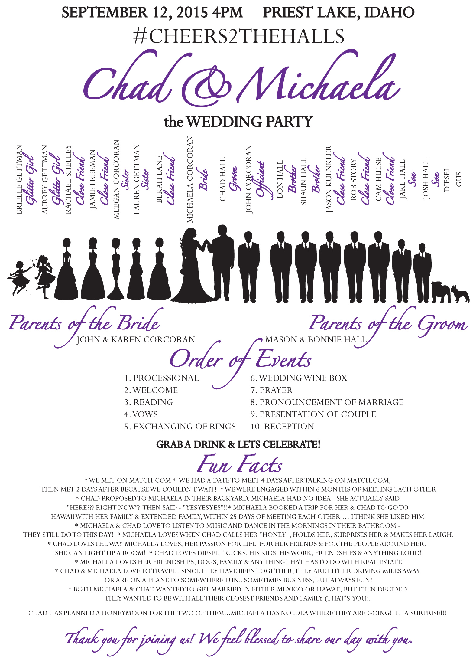Hall Wedding Program