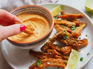 CARROT FRIES & CHIPOTLE CASHEW DIP