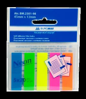 Закладки пластикові NEON 45x12мм, 5х20 аркушів, JOBMAX, асорті BM.2301-98
