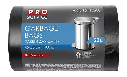 Пакет для смiття, п/е, 7 мкм, чорні, HD, 20л/100шт pr.16112600