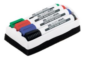 Набір з 4 маркерів + губка для дошок сухого стирання BM.8800