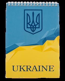 Блокнот на пружині зверху UKRAINE, А-5, 48л., клітка, картонна обкл,