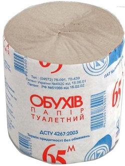 Папір туалетний макулатурний Обухів, без гільзи, сірий