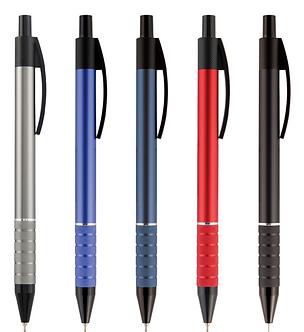 Ручка кульк. масляна під нанес., метал.корпус 0,7 мм, колір асорті, синя АВ1086