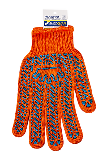 Рукавички помаранчеві з ПВХ крапкою, 6 ниток, BuroClean EuroStandart  10200352