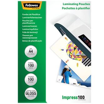 Плівки для ламінування глянсові 100 мкм, 154x216 мм - A5, 100 шт. f.53510