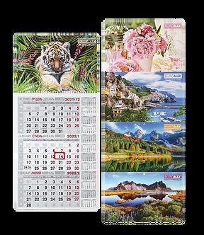 Календар настінний квартальний 2022 р., 297х630 мм, 1 пружина  BM.2106