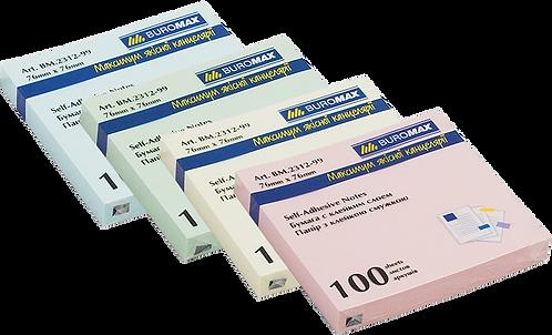 Блок для нотаток 76 х76мм, 100 аркушів, JOBMAX, асорті BM.2312-99